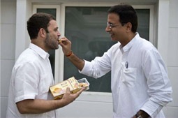 Congratulating Rahulji with Bihar's deliciously famous Sudha Peda